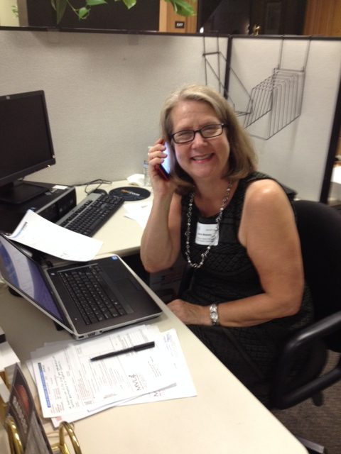Laura Blakely working the Phonathon
