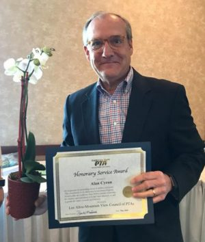 Alan receives the PTA Council Honorary Service Award in 2018
